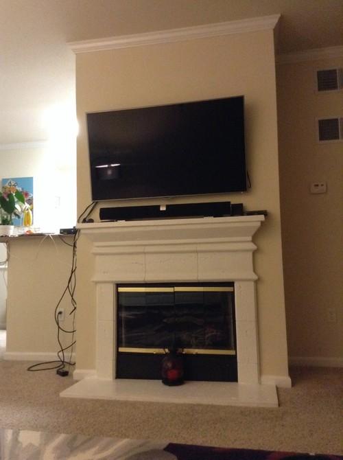 Fireplace Storage media storage for tv over fireplace
