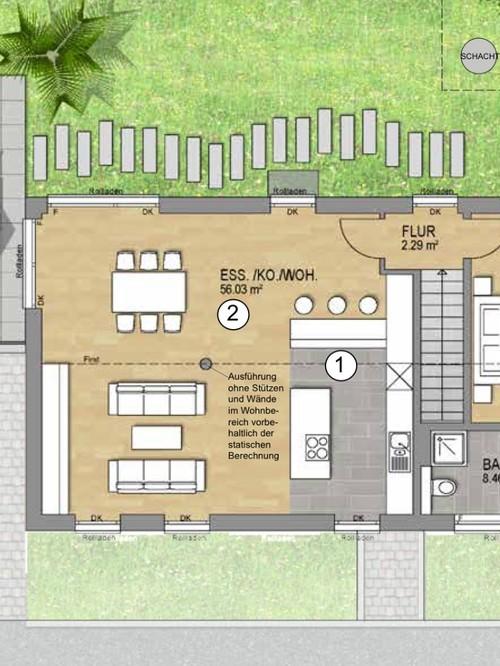 Offene Küche mit 3,5m Deckenhöhe und einer Neigung von 18*