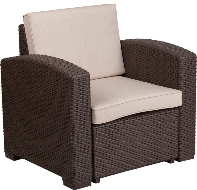 Chocolate Brown Faux Rattan Chair With All Weather Beige