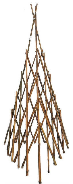 Natural Bamboo Teepee, 48 H, Natural Finish.