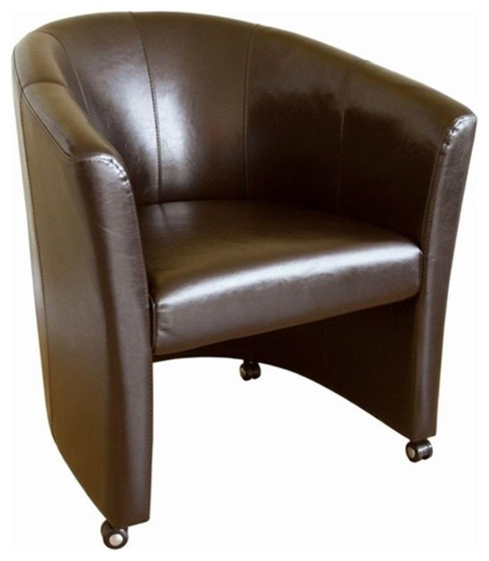 Faux Leather Club Chair With Wheels Contemporary Armchairs And Accent Chairs