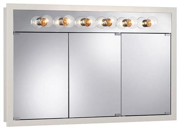 "Granville 48""x30"" Surface Mount Lighted White Medicine Cabinet."