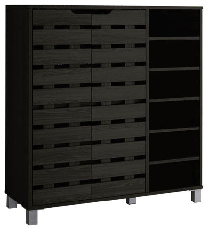 Shirley Wood 2-Door Shoe Cabinet With Open Shelves, Dark Brown.