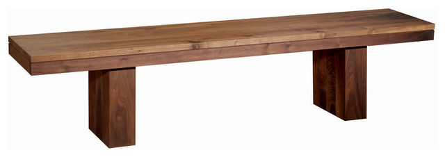 The Mondo Dining Table Bench - Walnut - Rustic - Dining Benches ...