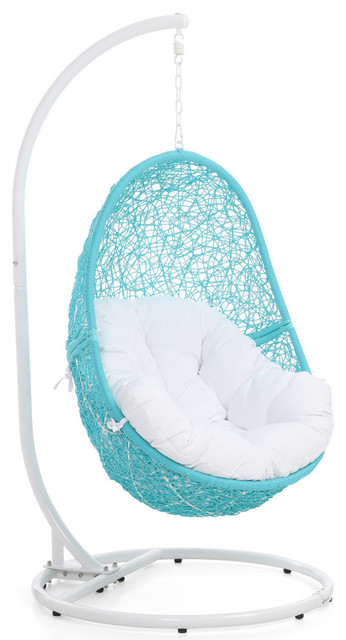Modern Reef Swing Chair With White Cushion, Teal.