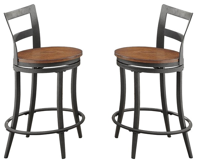 Wooden & Metal Counter Height Swivel Chair, Gray & Brown, Set Of 2