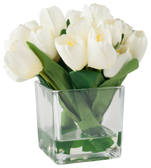 Pure Garden Tulip Floral Arrangement With Glass Vase Cream