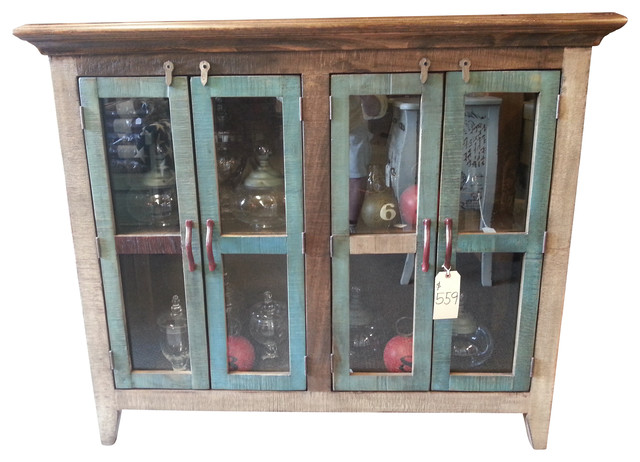 Antique Multi Color Pine Console Cabinet With 4 Doors - Antique Multi Color Pine Console Cabinet With 4 Doors - Console