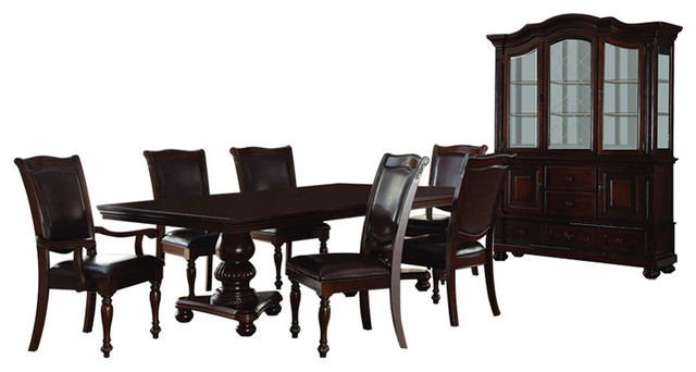 homelegance lordsburg 8 piece double pedestal dining room set in dark brown traditional dining - Dining Room Set For 8