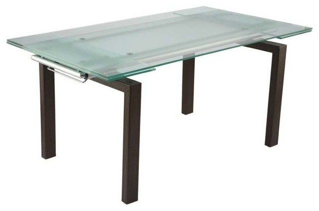 Eurostyle Shelly Extension Glass Top Dining Table In Brown Leather Tables