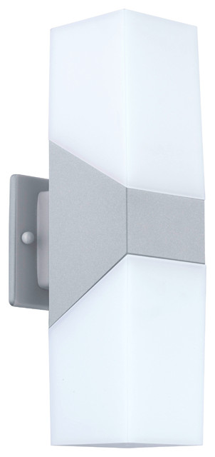 Plastic Wall Light Covers : 2x3.7W LED Outdoor Wall Light With Silver Finish and White Plastic Cover - Contemporary ...