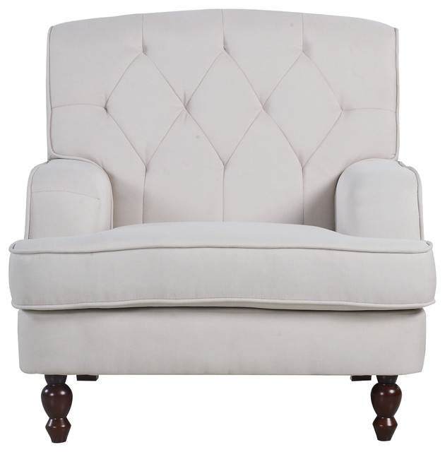 Modern Tufted Fabric Living Room Armchair, Beige