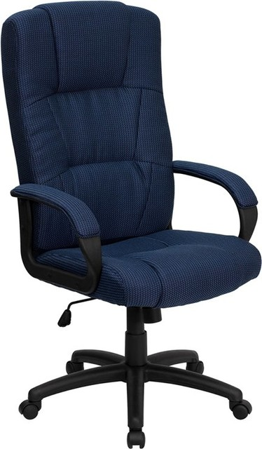 Silkeborg Mid-Back Navy Blue Fabric Executive Swivel Chair With Arms.