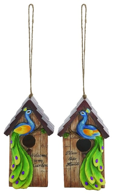 Set of 2 Tall Hanging Bird Houses Peacock Accents Home Outdoor