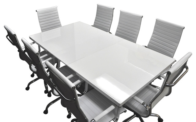 Solis Lucidum White Lacquered Table Leather Office Chairs 9-Piece Conference Set.