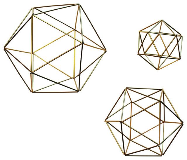 brass himmeli decorative spheres set of 3 contemporary decorative accents - Decorative Accents