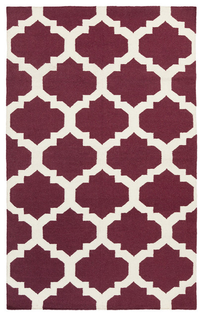 Racha ra1145 purple white area rug 3 39 x5 39 contemporary for Purple area rugs contemporary