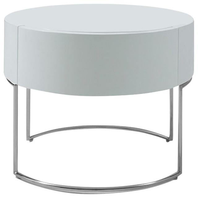 Modrest Modern White Lacquer Round Nightstand