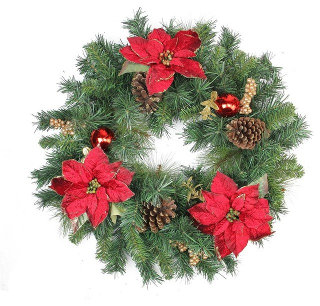 """24"""" Pine Poinsettia Berry And Pine Cone Artificial Christmas Wreath, Unlit."""