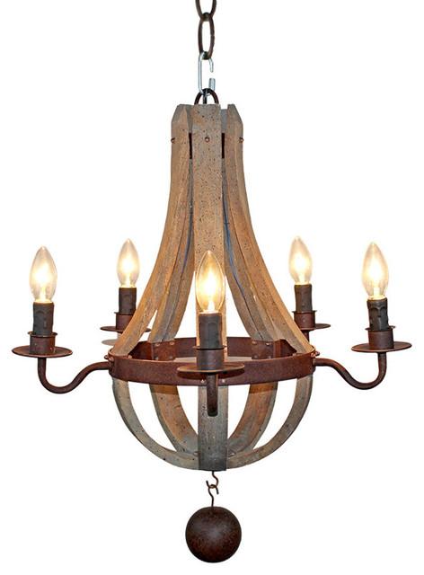 5 Light Wooden Pendant