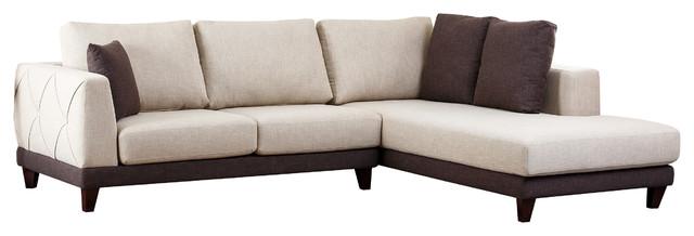 Verona Fabric Sectional Sofa, Cream