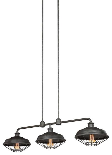 Lennex 3-Light Chandeliers, Slated Gray Metal