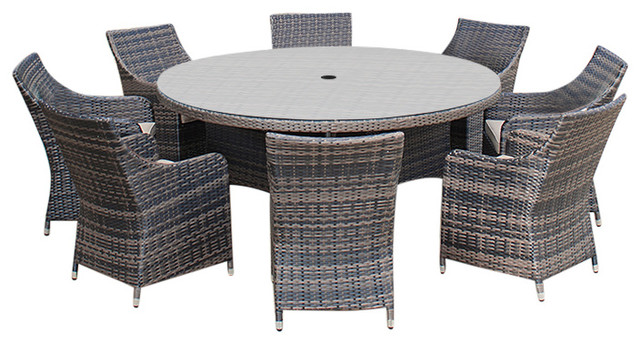 Rattan Garden Furniture Lyon 8 Seat 1 M Round Outdoor Dining Set Contemporary Sets By White S