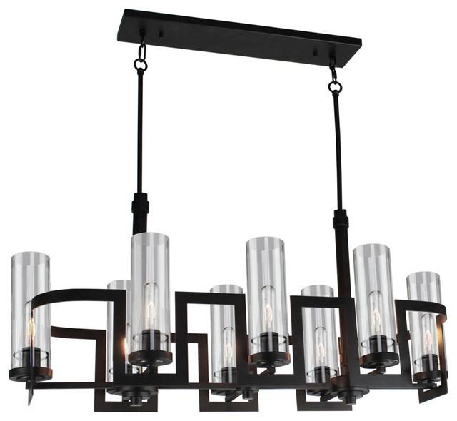 Chandeliers 8 Light Fixture With Dark Jaa Brown Clear Glass Medium 18 800 Watt