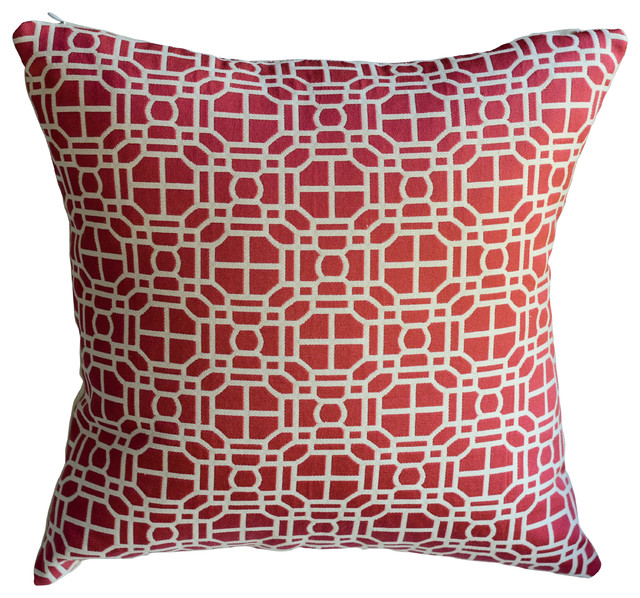 Modern Red Decorative Pillows : Red Modern Geometric Decorative Pillow - Transitional - Decorative Pillows - by KH Window ...