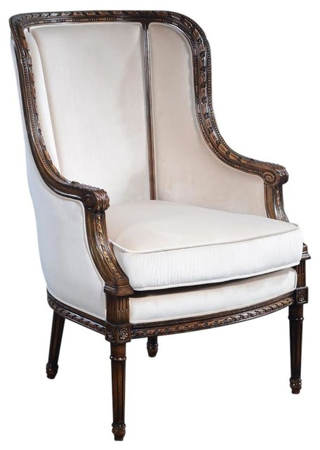 Louis Xvi French Fluted Legs Bergere Chair Traditional