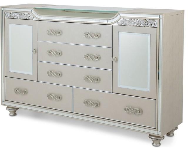 Aico Michael Amini Bel Air Park Upholstered Dresser, Champagne.