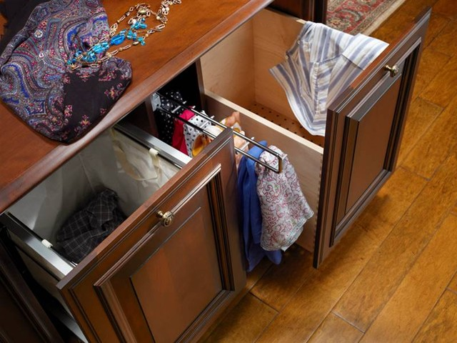 Double Hamper With Pullout For Scarves Traditional