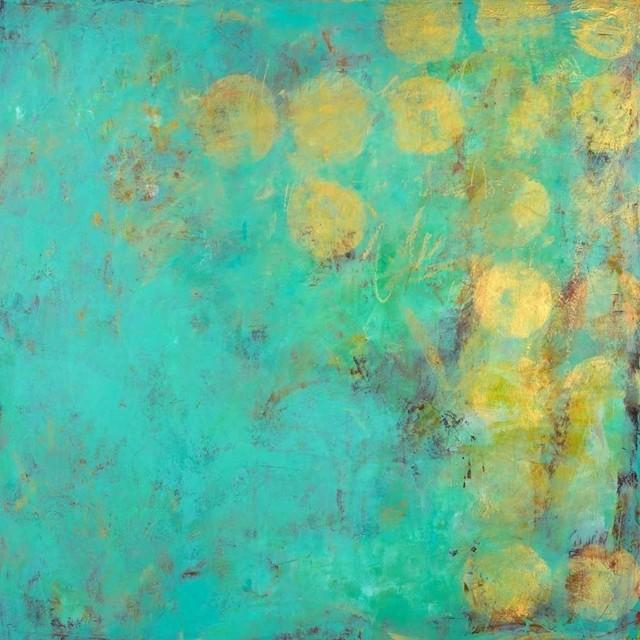 "Moon Dance Fine Art Giant Canvas Print, Turquoise, Yellow, 54""x54""."