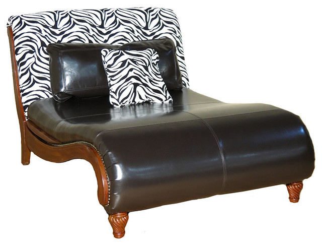 Black Vinyl With Zebra Print Chaise Lounge Chair.