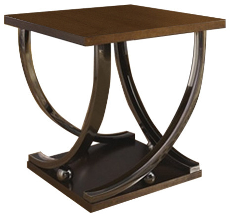 Ashley Square End Table Rollins Dark Brown