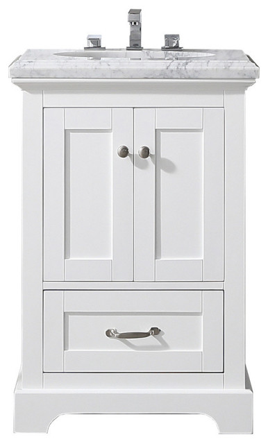Eviva Houston 24 Inch White Bathroom Vanity With Double Ogee Edge White Carrara Transitional Bathroom Vanities And Sink Consoles By Kolibri Decor Houzz