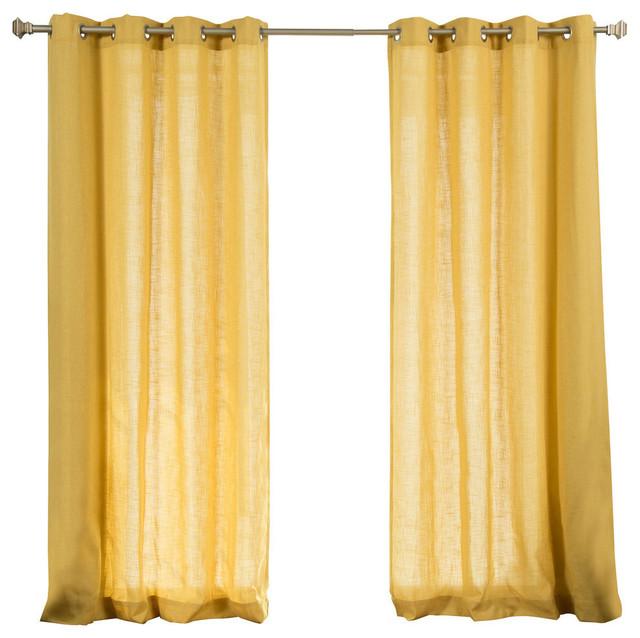Faux Linen Blend Curtain Panel, Set Of 2.