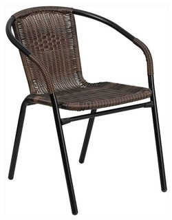 Flash Furniture Rattan Indoor Outdoor Restaurant Stack Chair   Tropical    Outdoor Dining Chairs   By ShopLadder