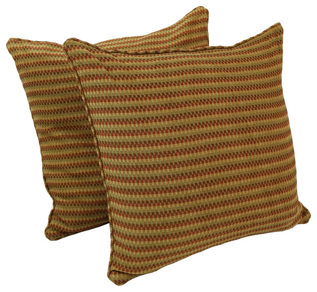 25IN Jacquard Chenille Square Floor Pillow Inserts, Set of 2, Autumn Gingham