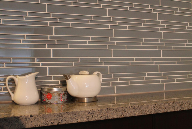 chimney smoke linear glass mosaic tile kitchen backsplash contemporary