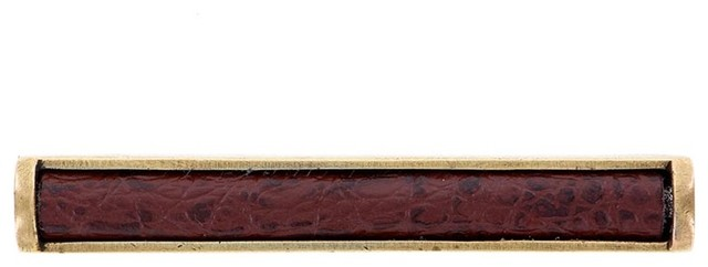 Equestre, Pull, Leather Insert, 3 Inch, Brown, Antique Brass - Farmhouse - Cabinet And Drawer ...
