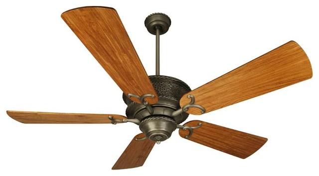 "Craftmade Ceiling Fan, Pewter Riata With 54"" Oak Blades"
