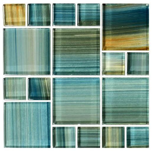 "12""x12"" Glass Tile Blends Watercolors Series, Aqua"