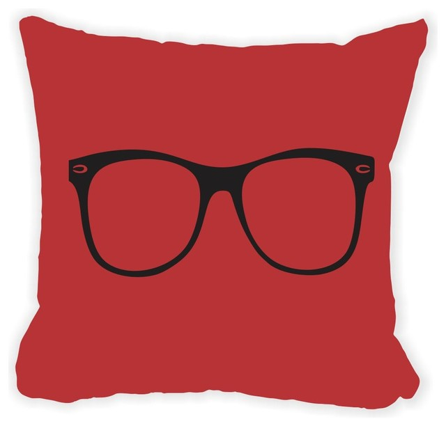 Burgundy Microfiber Throw Pillows : Rikki Knight LLC - Hipster Glasses On Burgundy Red Microfiber Throw Pillow - View in Your Room ...