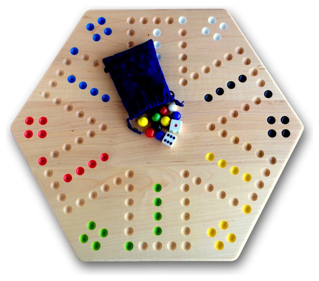 "Hand-Painted Wooden Aggravation Game Board, Double-Sided, 16"" Board Maple Wood"