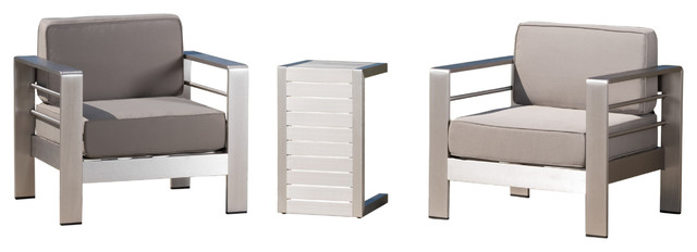 Coral Bay Outdoor Aluminum Club Chairs With Side Table, Silver.