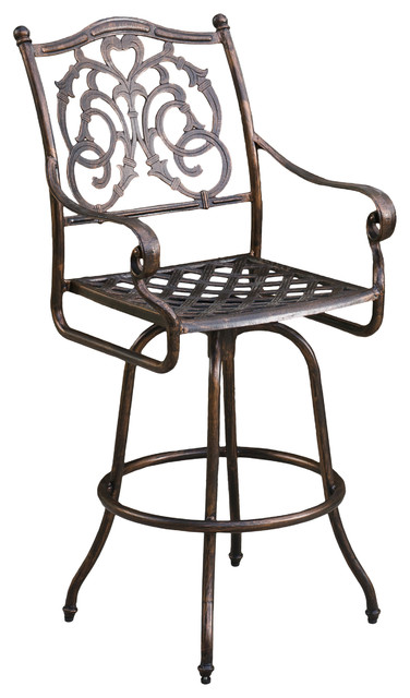 Denise Austin Home Roma Cast Aluminum Outdoor Copper Bar Stool.