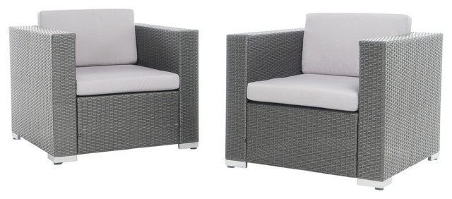 Verin Outdoor Gray Wicker Club Chairs, Silver Water Resistant Cushions, Set of 2