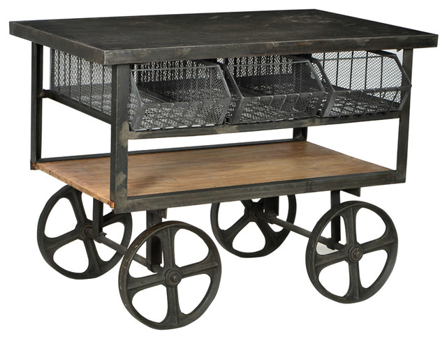 Iron And Wood Trolly Cart Industrial Console Tables