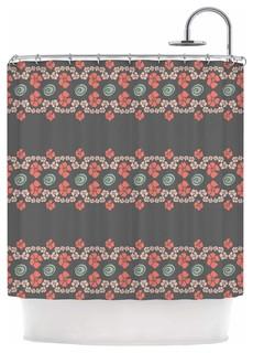 Kess Inhouse Zara Martina Mansen Flora Formations Gray Coral Shower Curtain View In Your